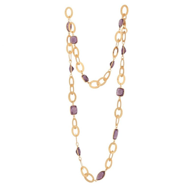 amethyst gold plate silver link necklace by Isabel Barreto Jewellery
